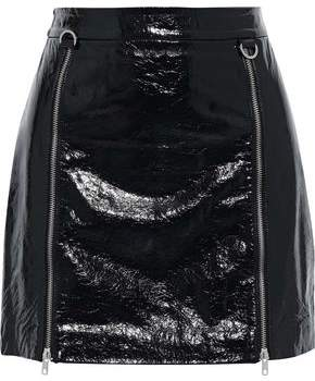 Mason by Michelle Mason Zip-detailed Crinkled Patent-leather Mini Skirt