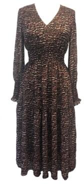 Taylor Petite Printed Smocked-Chiffon A-Line Dress