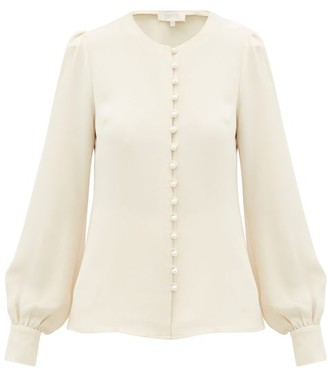 Goat Jude Faux-pearl Button Silk Blouse - Womens - Light Pink