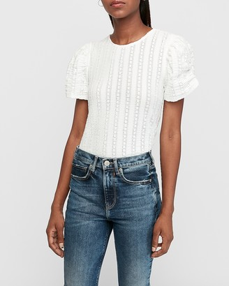 Express Eyelet Lace Puff Sleeve Tee