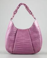Nancy Gonzalez Crocodile Chain Hobo Bag, Lilac