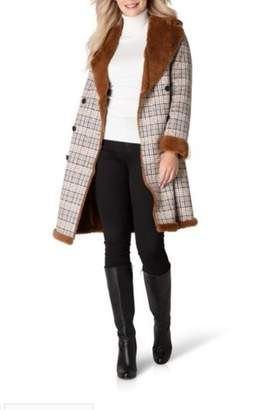 Yest Long Plaid Coat with Faux Fur Lining