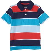 E-Land Kids Stripe Polo (Toddler/Kid) - Deep Ocean-4T