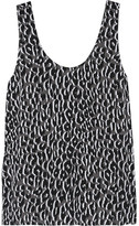 Equipment Kaylen leopard-print washed-silk tank