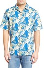 mens tommy bahama byron blooms regular fit short sleeve silk cotton camp shirt