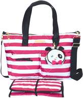 Betsey Johnson Betsy Johnson 3 Piece Fuschia/White Candy Striped Diaper Bag