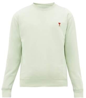 Ami De Cur Logo Patch Cotton Sweatshirt - Mens - Light Green