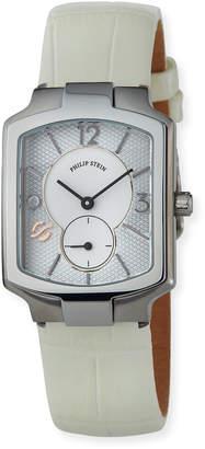 Philip Stein Teslar Classic Square Watch w/ Lizard Strap, Silver/White