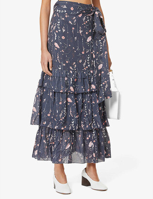 Joslin Cameron floral-print cotton maxi skirt