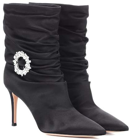 Gianvito Rossi Embellished satin ankle boots