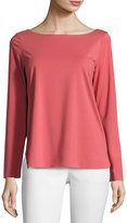 Lafayette 148 New York Long-Sleeve Round-Neck Tee, Cherrywood