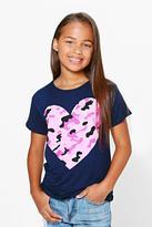 Boohoo Girls Camo Heart Print Tee