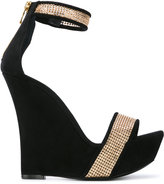 Balmain embellished wedge sandals - women - Leather/Suede/metal - 37