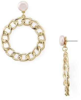 Aqua Dangling Chain Hoop Earrings - 100% Exclusive