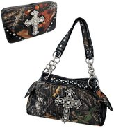 Things2Die4 Deep Forest Camouflage Rhinestone Cross Purse / Wallet Set Trim
