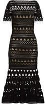 Oscar de la Renta Guipure Lace Midi Dress - Black