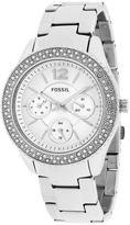 Fossil ES3588 Women's Stella Silver Stainless Steel Watch with Crystal Accents