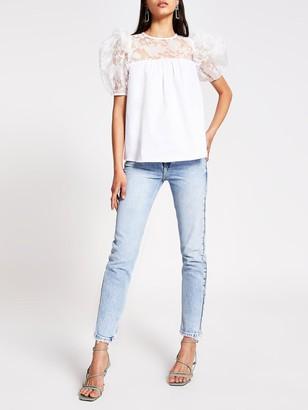 River Island Poplin Hybrid T-shirt - White