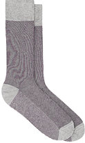 Barneys New York MEN'S FINE-STRIPED MID-CALF SOCKS-PURPLE