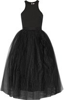 Elizabeth and James Aneko Stretch-ponte And Tulle Midi Dress - Black