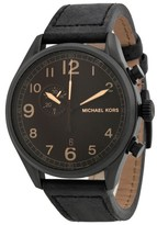 Michael Kors Hangar MK7069 Stainless Steel Black Dial Leather Strap Chronograph 45mm Watch