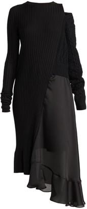 Sacai Combo Knit Sheer Midi Dress
