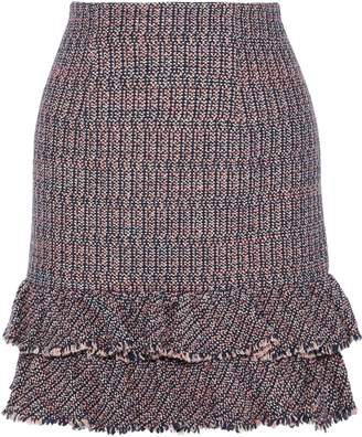 Rebecca Taylor Ruffled Cotton-blend Boucle-tweed Mini Skirt