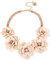Betsey Johnson Gold-Tone Pavé Flower and Ribbon Collar Necklace