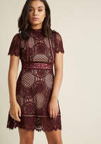 BB Dakota Evocative Appeal A-Line Lace Dress in 8 - Short Sleeve Midi by from ModCloth