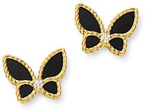 Roberto Coin 18K Yellow Gold Onyx & Diamond Butterfly Stud Earrings - 100% Exclusive