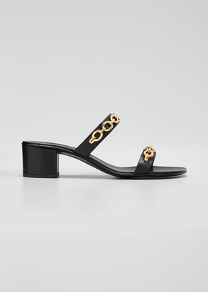 Giuseppe Zanotti 40mm Leather Block-Heel Sandals with Chain Detail