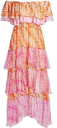 Rhode Resort Ash Off-The-Shoulder Batik Cotton Dress