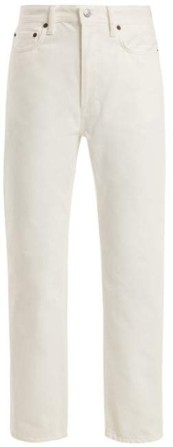 Acne Studios Log Straight Leg Boyfriend Jeans - Womens - White