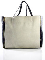 Celine Beige Canvas Colorblock Horizontal Gusset Cabas Tote Size Extra Large