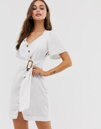 Moon River asymmetric mini dress with button detail