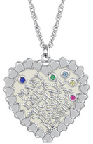 Zales Personalized Family Heart and Simulated Birthstone Pendant in Sterling Silver (1-5 Names and Stones)