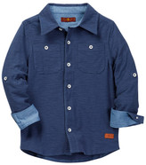 7 For All Mankind Knit Button Up Shirt (Big Boys)