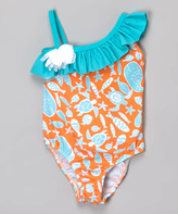 Flap Happy Tangerine Tide Asymmetrical Swimsuit - Infant Toddler & Girls