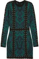 Balmain Lace-Up Jacquard-Knit Mini Dress
