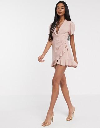 Asos DESIGN drape linen tux mini dress with ruffle hem