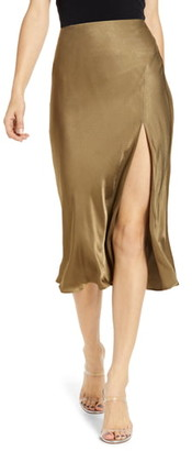 Socialite Bias Cut Satin Skirt