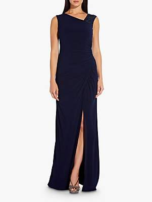Adrianna Papell Draped Sequin Strap Jersey Gown, Midnight