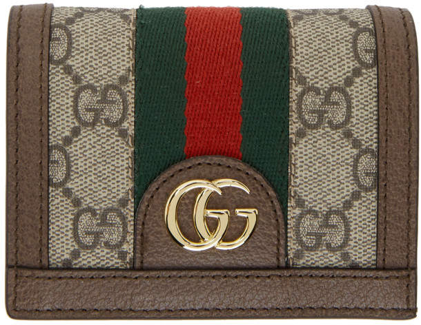 Gucci Beige GG Supreme Ophidia Bifold Card Holder