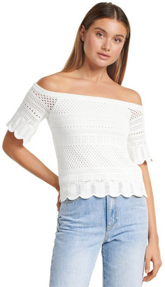 Forever New Alba Crochet Look Bardot Knit Top