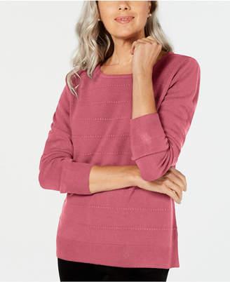 Karen Scott Petite Ottoman-Stitch Sweater