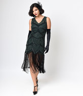 Unique Vintage Iconic by UV Green Beaded Mesh Isadora Fringe Flapper Dress