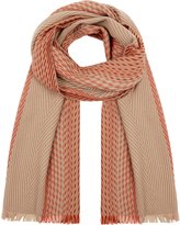 Johnstons of Elgin Beige and Coral Chunky Ombre Merino Wool and Cashmere-Blend Scarf