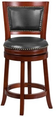 """Darby Home Co Snavely Swivel Bar & Counter Stool Color: Dark Cherry Wood, Seat Height: Counter Stool (26"""" Seat Height)"""