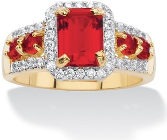 PalmBeach Jewelry 3/8ct TCW Emerald-cut Simulated Red Ruby Halo Cocktail Ring 18k Yellow Goldplated Color Fu