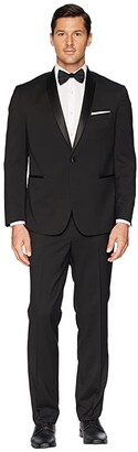 Kenneth Cole Reaction Stretch Slim Fit Shawl Collar 32 Finished Bottom Tuxedo (Black) Men's Coat